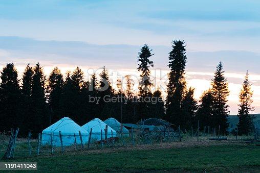 Kazakh houses and yurts on grassland, Xinjiang(Kalajun Grassland)