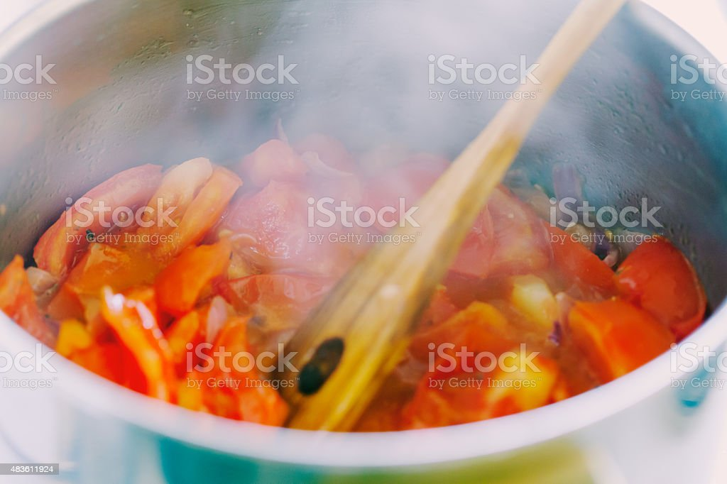 cooking tomato sauce stock photo