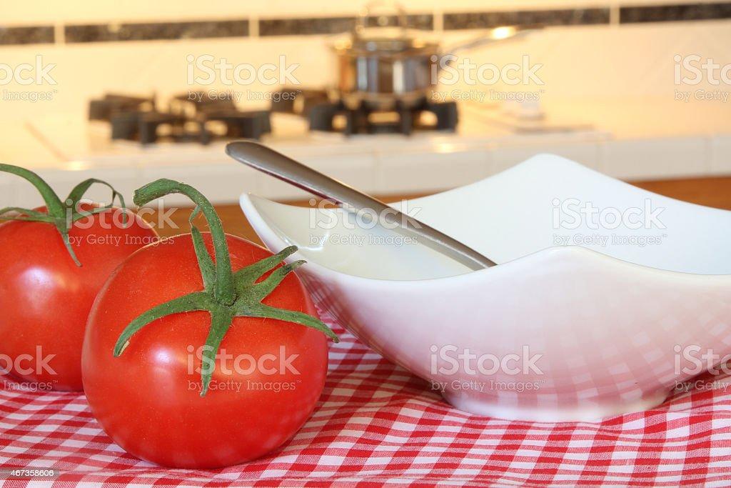 Cooking tomato soup. stock photo