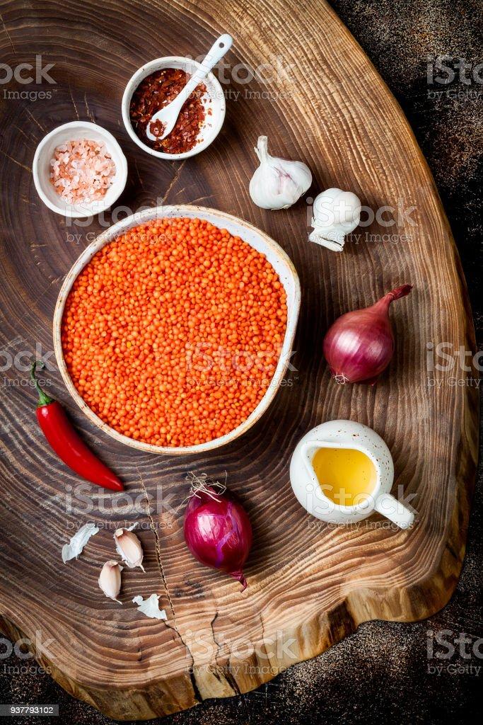 Cocinar Lentejas Rojas Tradicionales Dal. Ingredientes Para Curry Picante  Dhal Indio. Vista Superior,