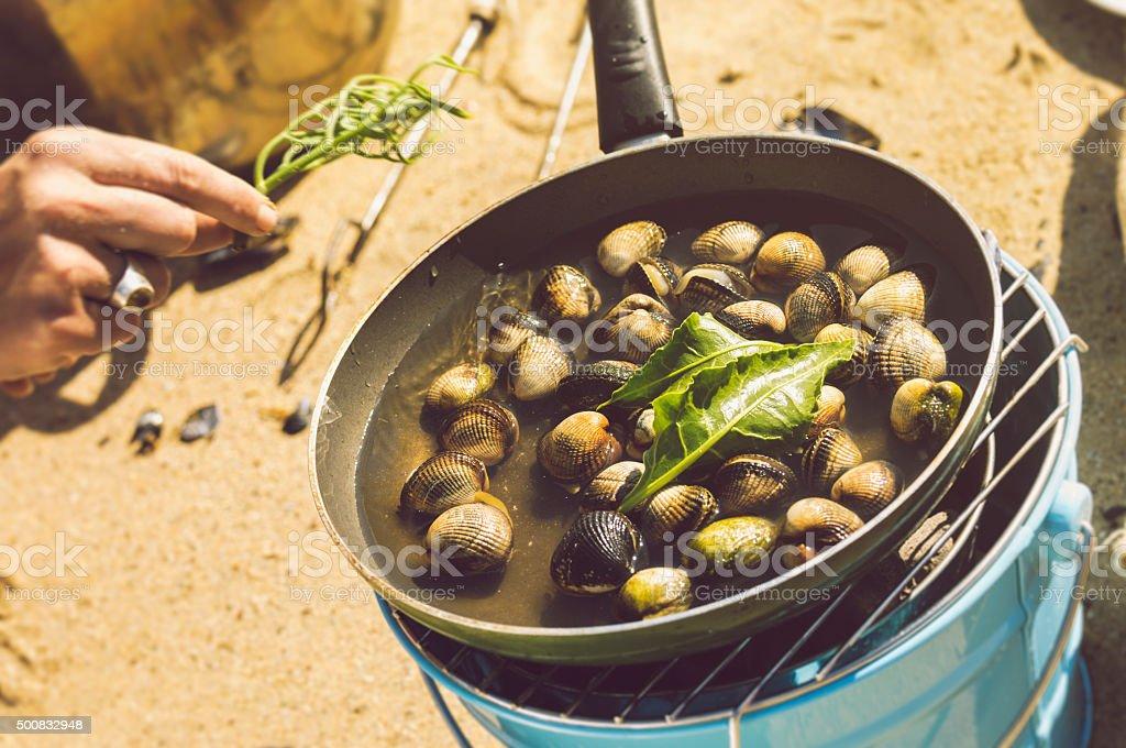 Cocina wild cockles en la playa en Cornwall - foto de stock