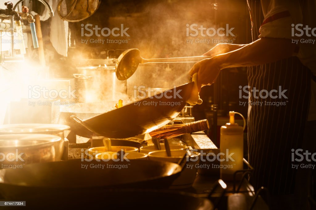Cooking with chef stock photo
