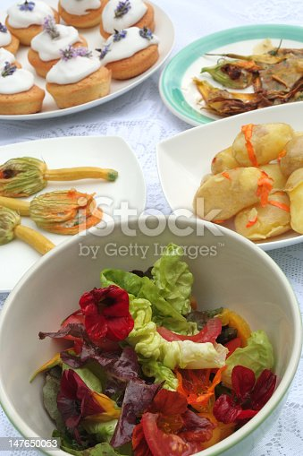 A selection of dishes all involving the use of edible flowers