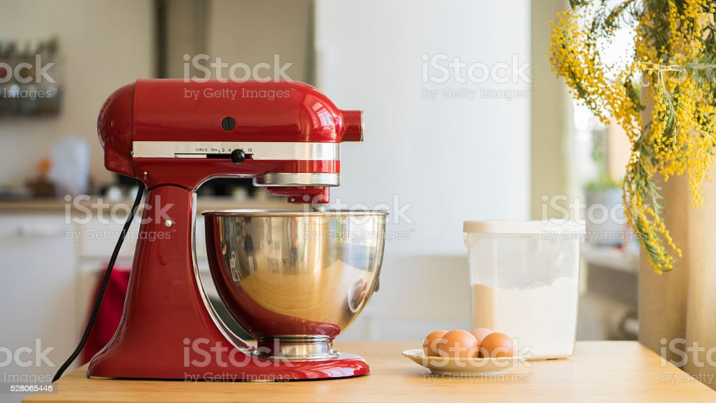 Cooking with red stand mixer stock photo