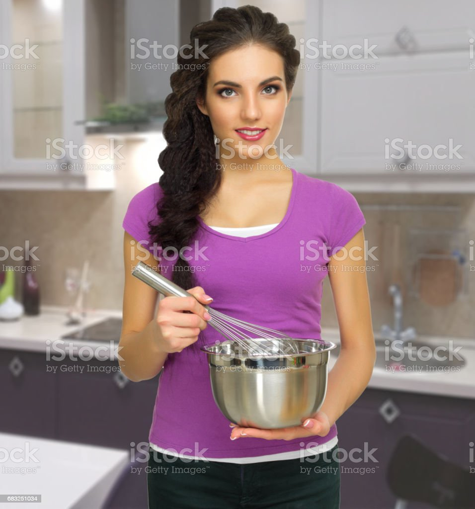Cooking woman at kitchen 免版稅 stock photo