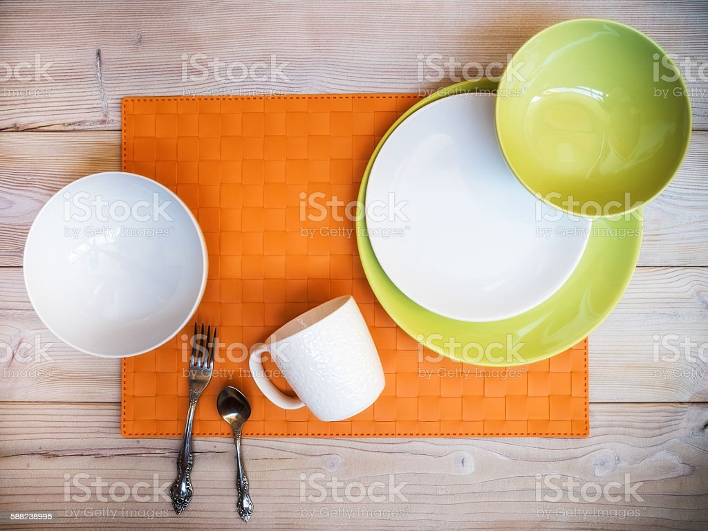 Cookware on the table stock photo