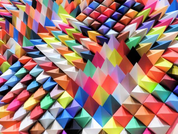 eine coole abstrakte bunte moderne hintergrund mit papier gemacht - farbiges papier stock-fotos und bilder