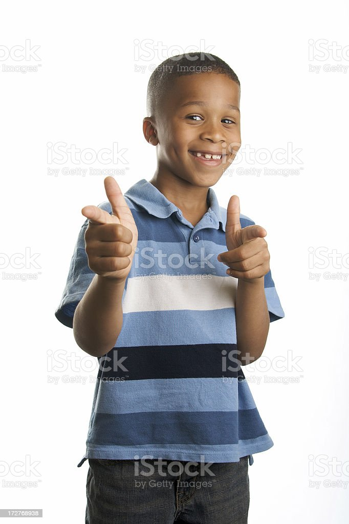 Cool African American Boy Smiling and Pointing stock photo