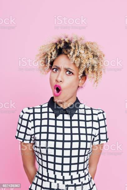 Cool Afro American Young Woman Shouting Stock Photo - Download Image Now