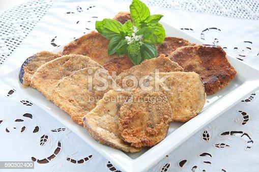 Cool And Delicious Slices Of Fried Eggplantfood-foton och fler bilder på Aubergine