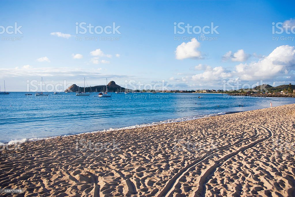 cool beach landscape at Reduit St Lucia royalty-free stock photo