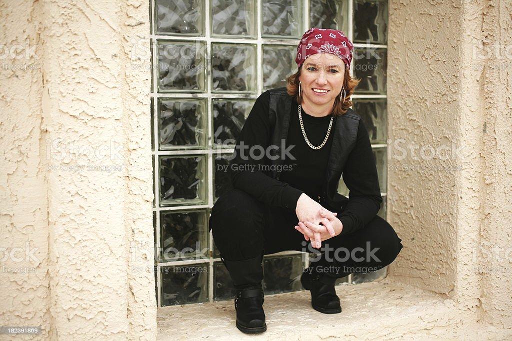 Cool Biker Chick stock photo
