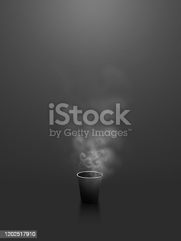 Cool black background coffee cup of business scene