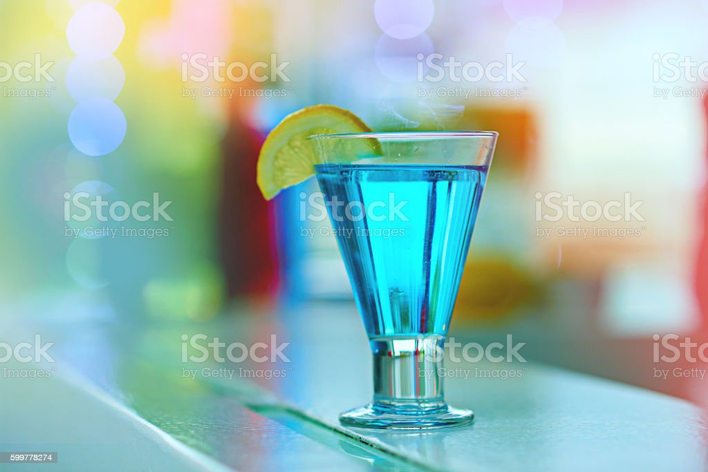 Cool blue cocktail deliciousness stock photo