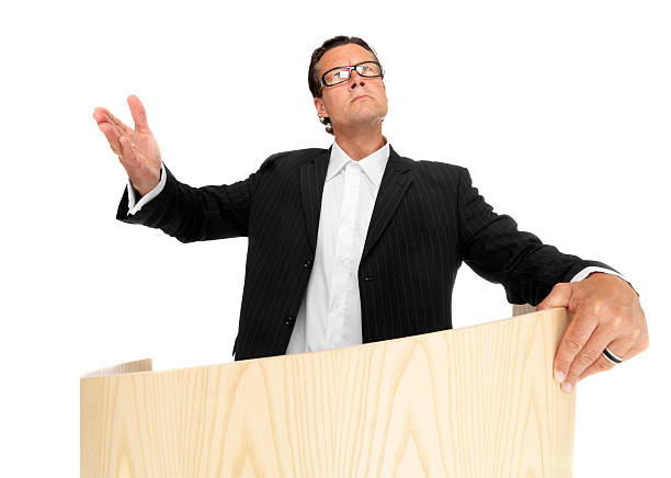 Cool businessman welcome you stock photo