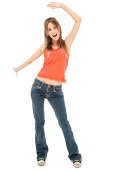 Photo of a casual teen dancing; isolated on white.