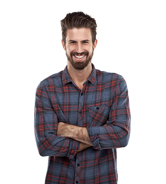 Cool causal style Cropped portrait of a young man against a white background facial hair stock pictures, royalty-free photos & images