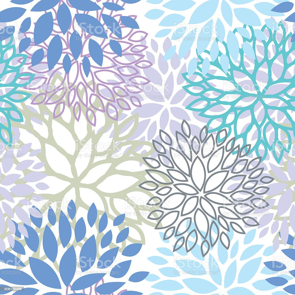 Cool color floral seamless pattern vector design stock photo