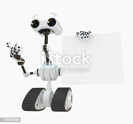 White modern robotic helper makes business presentation
