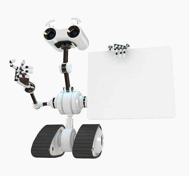 Cool cyborg robot shows on the empty board stock photo