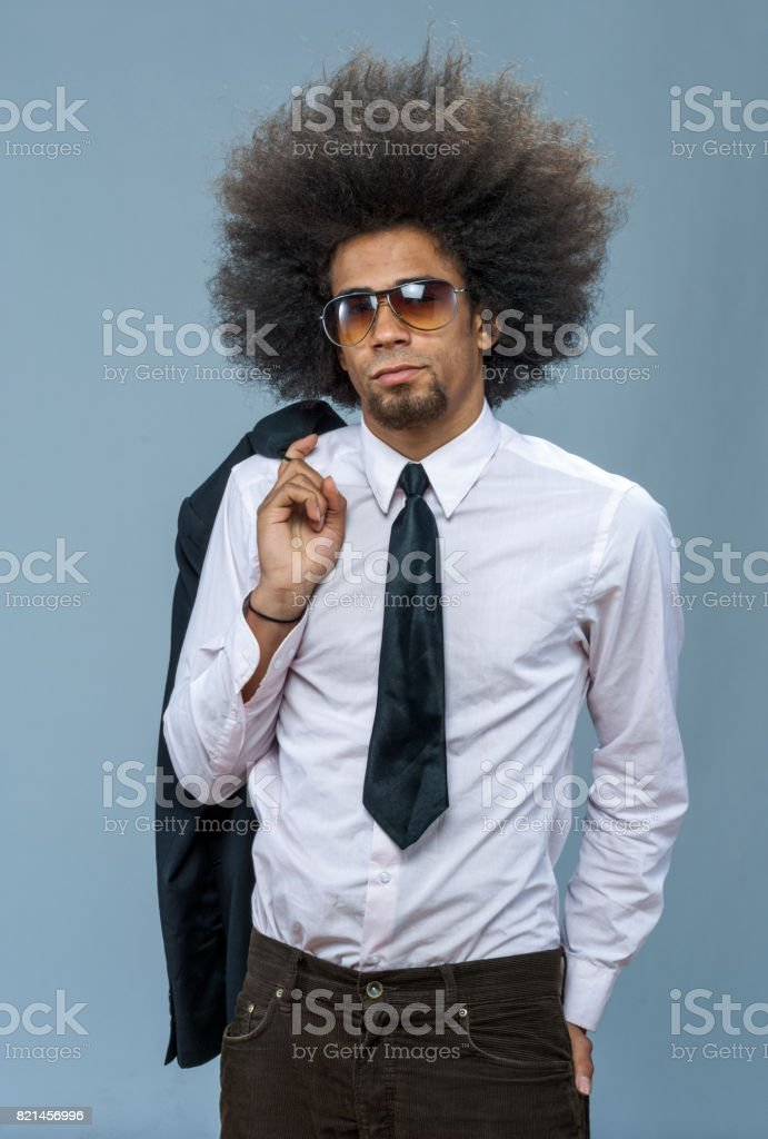 cool eccentric businessman with classes, new business stock photo