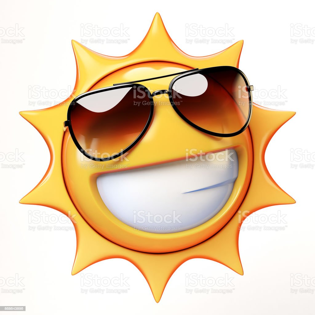 cool emoji isolated on white background smiling emoticon with sunglasses 3d rendering royalty free