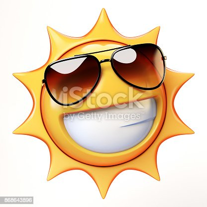 Cool Emoji Isolated On White Background Smiling Emoticon With