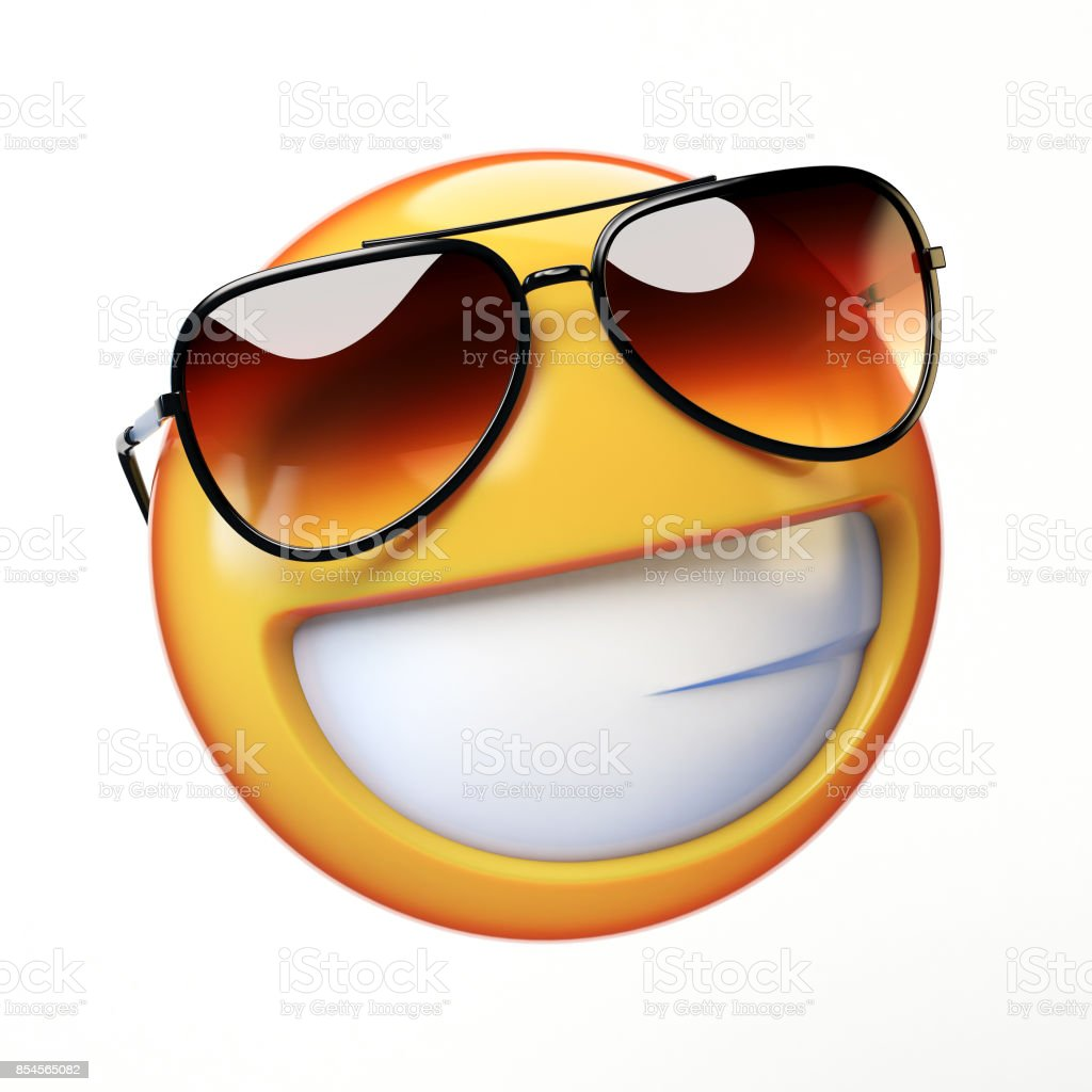 Cool emoji isolated on white background, smiling emoticon with sunglasses stock photo