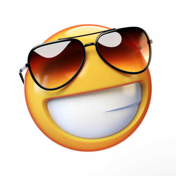 cool emoji isolated on white background, smiling emoticon with sunglasses - emoji foto e immagini stock