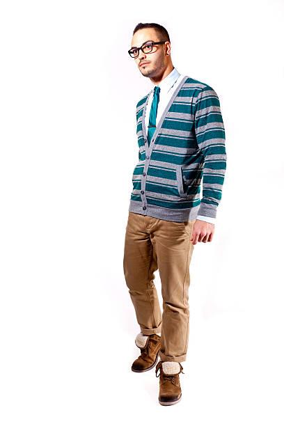 Coole Mode Mann auf weißem Hintergrund – Foto