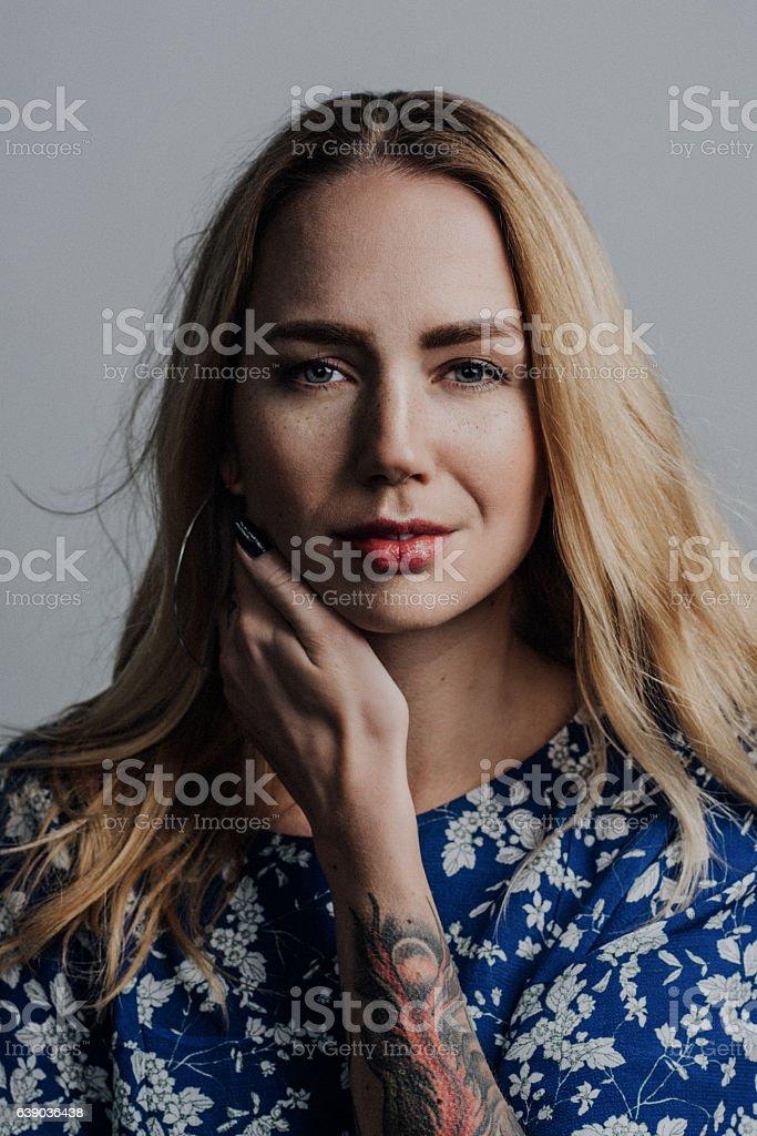 Cool fashionable woman portrait stock photo