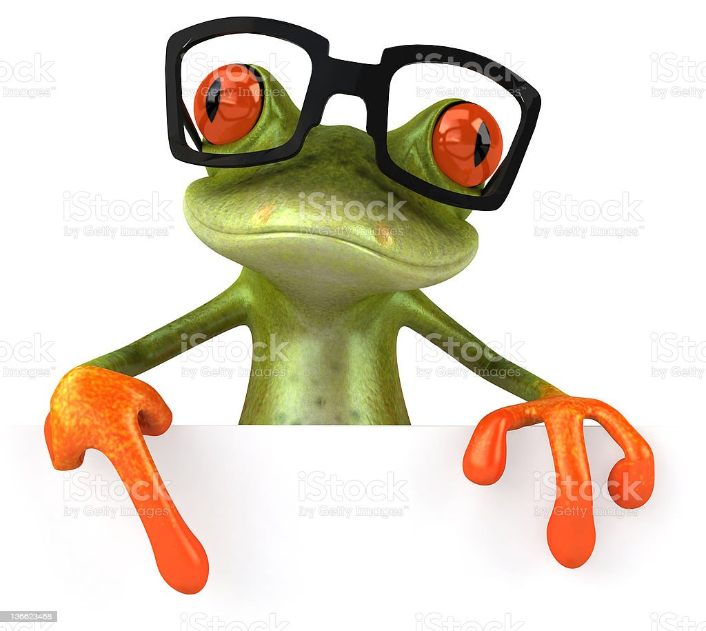 Cool frog and glasses stock photo