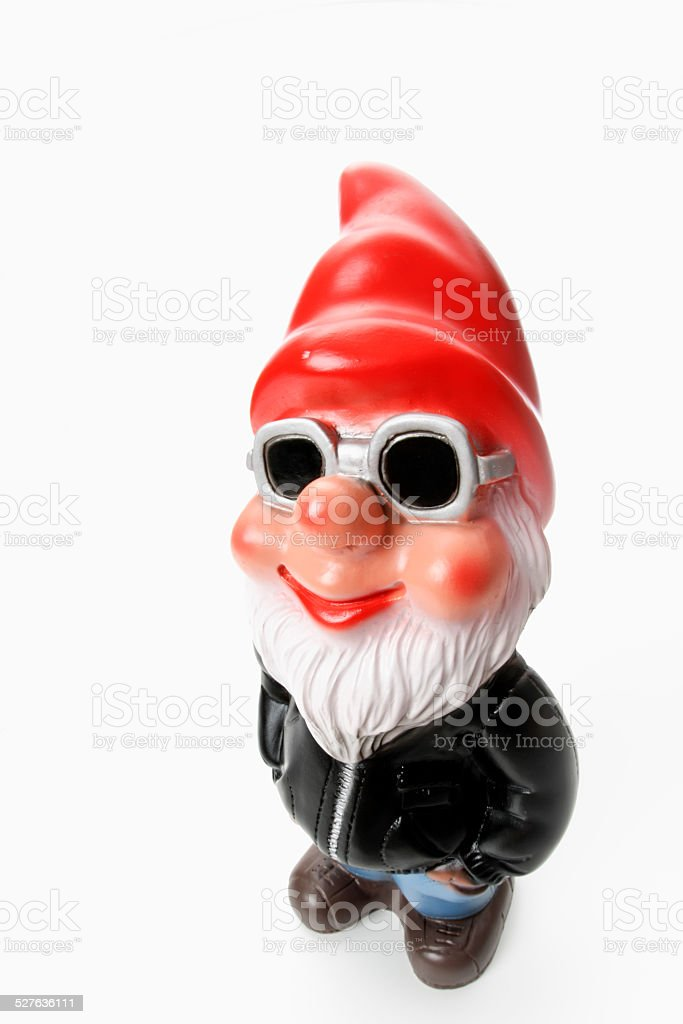 Cool garden gnome wearing sun glasses stock photo