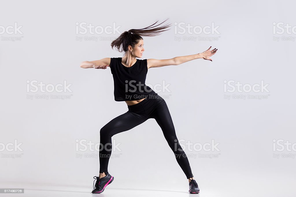 Cool girl dancing stock photo