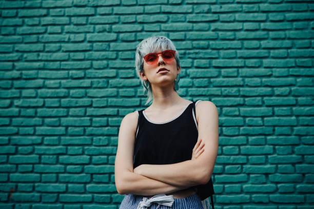 Cool girl with attitude posing in La Boca, Buenos Aires stock photo