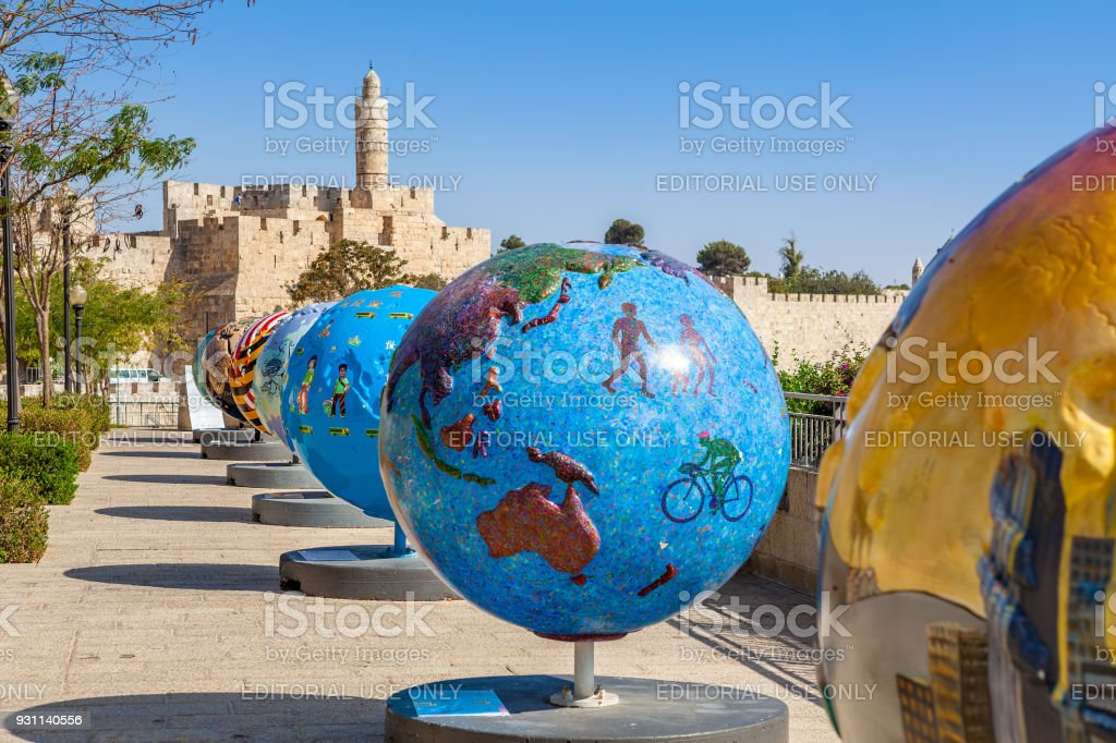 Cool Globes exibition in Old City of Jerusalem, Israel. stock photo