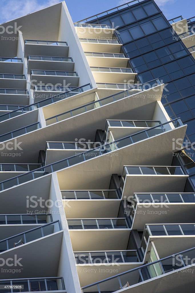 Cool High Rise Archetectural Building Low Angle View