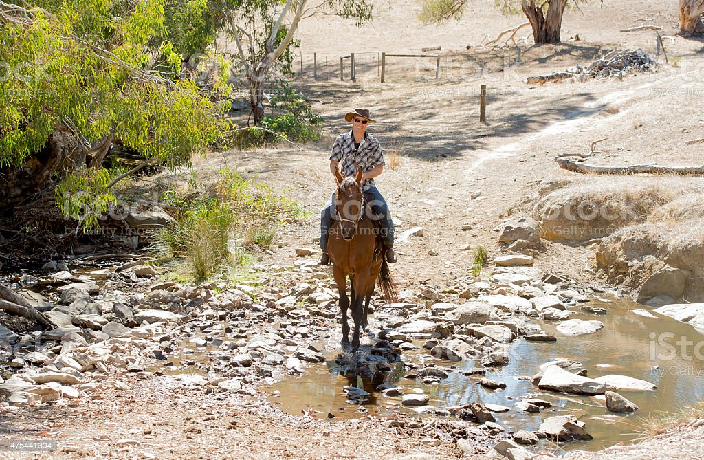 cool instructor or cattleman riding horse in cowboy hat stock photo