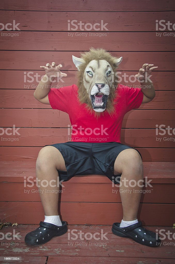 Cool Kid In Lion Mask stock photo