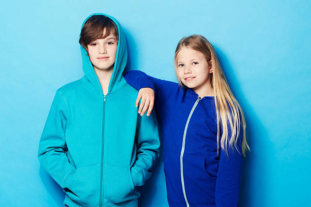 cool kids - tween models stock photos and pictures