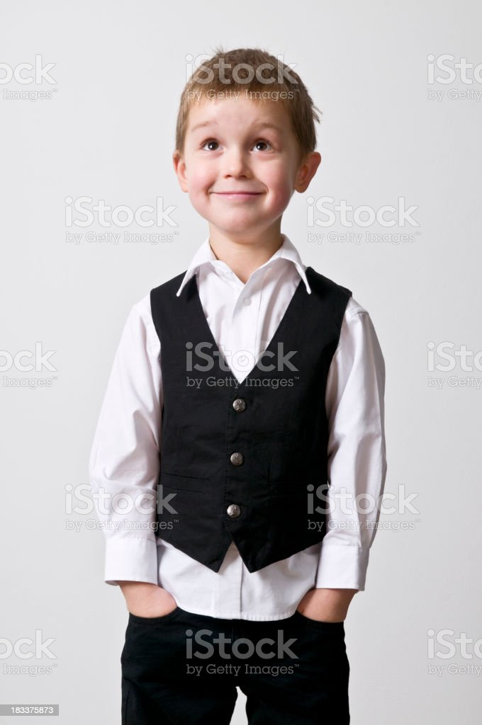 cool little boy looking up stock photo
