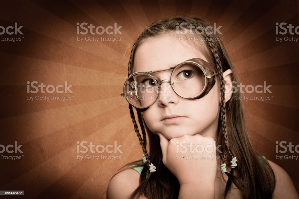 Cool Little Girl Wearing Steampunk Glasses royalty-free stock photo