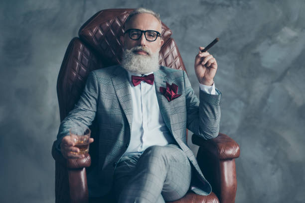Cool man in glasses, hold cigarette,  glass with brandy, in formal wear, tux with red bowtie and pocket square, sit in leather chair over gray background, looking to the camera, shares, stock, money - foto stock
