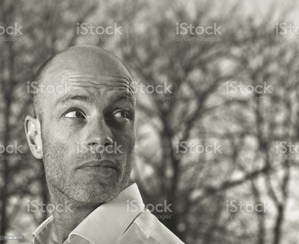 cool man looking over his shoulder royalty-free stock photo