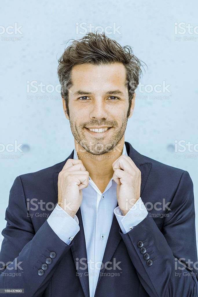 Cool middle aged businessman stock photo