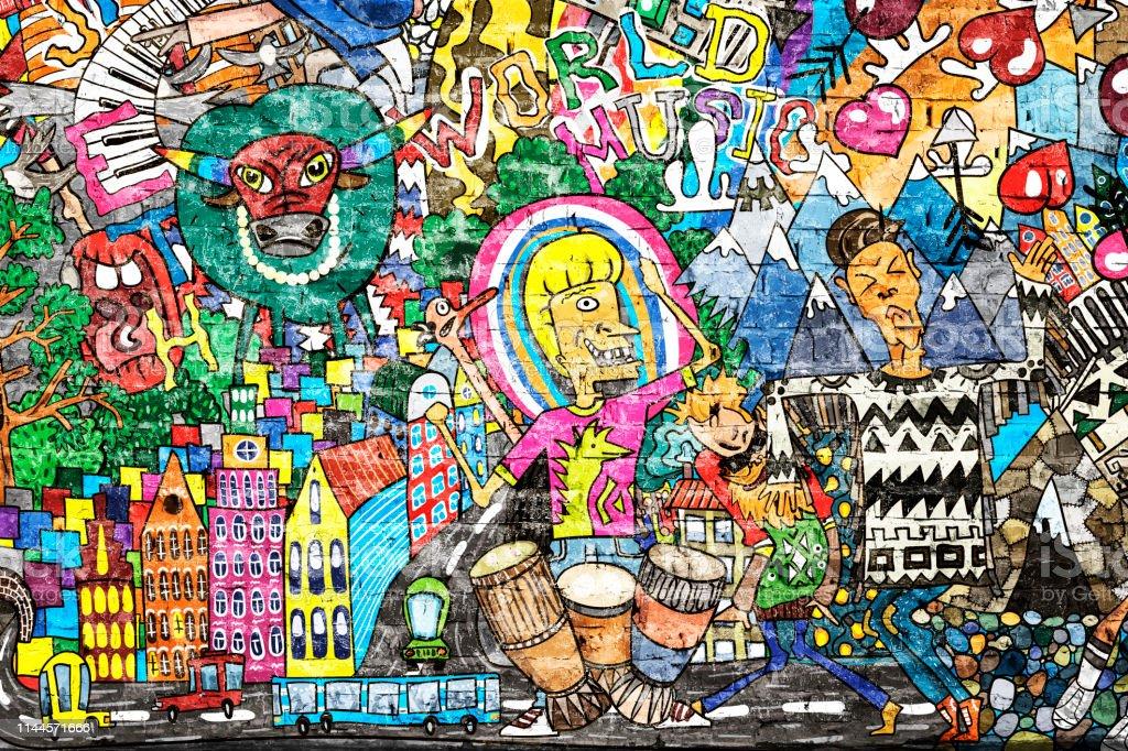 Cool Music Graffiti In Urban Style Stock Photo Download