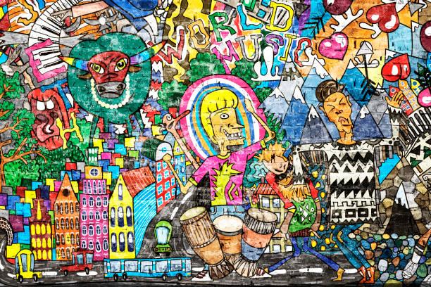 Coole Musik Graffiti im urbanen Stil – Foto