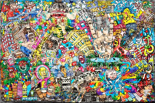 istock Cool music graffiti in urban style 1144573957