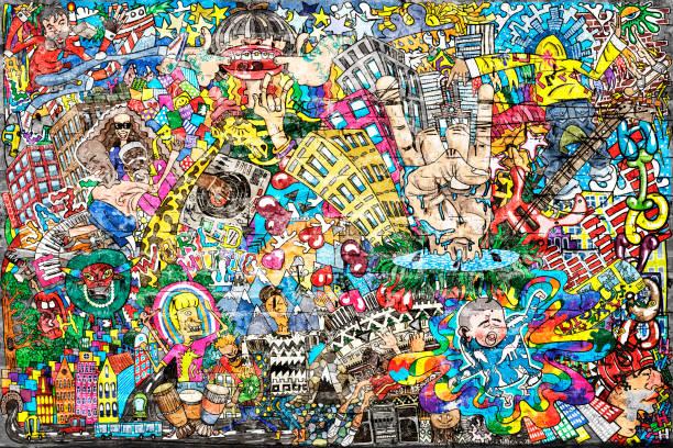 都会的なスタイルでのクールな音楽の落書き - 美術 ストックフォトと画像