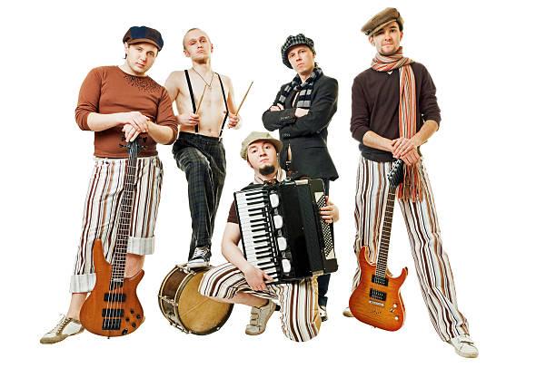 Cool musical band posing stock photo